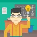 Student pointing at light bulb vector illustration