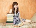 Student reading book  at home Royalty Free Stock Photography