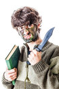 Student s determination a casual dressen young with a big military knife and camouflage on his face isolated on white Royalty Free Stock Image