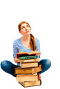 Student sitting with pile of literature russian Stock Photo