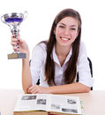 Student smiling with a trophy Royalty Free Stock Photography