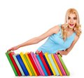 Student with stack book isolated Royalty Free Stock Photo