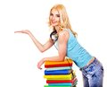 Student with stack book listen audiobook isolated Royalty Free Stock Photography