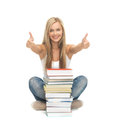 Student with stack of books picture smiling Stock Image
