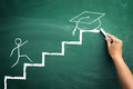 Student on steps illustrated presentation to arrive at the grad hand drawing climbing stairs graduation gain his success Royalty Free Stock Photo