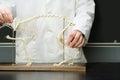 Student stood with animal skeleton Royalty Free Stock Photo