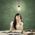 Student studying and get idea under light bulb