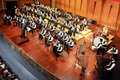 Student symphonic band perform on concert Royalty Free Stock Photo