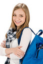 Student teenager woman with schoolbag Royalty Free Stock Image