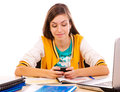 Student text messaging on cell phone Royalty Free Stock Photo