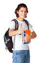 Student with a textbook and satchel isolated on white background Royalty Free Stock Photography