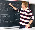 Student trying to solve mathematics equations Royalty Free Stock Photography