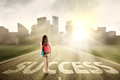 Student walking on the success way 1 Royalty Free Stock Photo