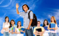 Student waving Royalty Free Stock Image