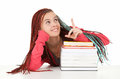 Student woman with plaits and books showing up Stock Photos
