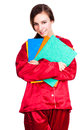 Student woman in red pyjamas white background Stock Photo