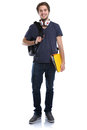 Student young man full body portrait smiling people isolated Royalty Free Stock Photo