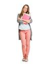 Studentgirl full length stående Fotografering för Bildbyråer