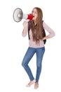 Studentin shouting in megaphone Lizenzfreie Stockbilder