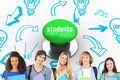 Students against digitally generated green push button Royalty Free Stock Photo