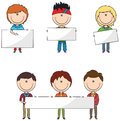 Students boys with banners cute and smart modern empty Royalty Free Stock Images