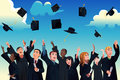 Students celebrating their graduation a vector illustration of by throwing hats in the air Stock Photo