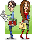 Students couple in love cartoon illustration of cute Royalty Free Stock Photo