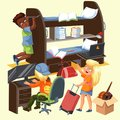 Students frat house colorful poster with roommates boys and girl with suitcase moving to her new dorm room vector Royalty Free Stock Photo