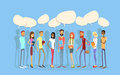 Students group people chat bubble social network communication young man woman full length stand in line flat vector illustration Stock Photo