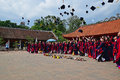 Students having graduation ceremony in Temple of Literature with hats up in the air Royalty Free Stock Photo