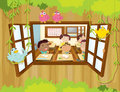 Students inside the classroom with birds at the window illustration of Royalty Free Stock Photos
