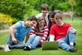 Students with a laptop Royalty Free Stock Photo