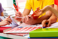 Students learning together young and active group of to exam Royalty Free Stock Photo