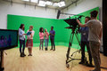 Students On Media Studies Course In TV Studio Royalty Free Stock Photo