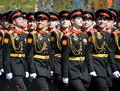 The students of the Moscow Suvorov military school on dress rehearsal of parade on red square in honor of Victory Day.