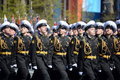 The students of the Nakhimov naval school on the rehearsal parade on red square in honor of Victory Day.