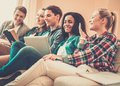 Students preparing for exams group of in apartment interior Stock Photo