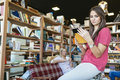 Students reading books in library intellectual Stock Photo