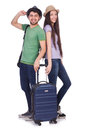 Students ready for travel on white Royalty Free Stock Images