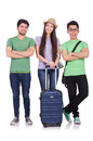 Students ready for travel on white Royalty Free Stock Photo