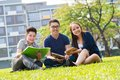 Students sitting campus lawn smiling Royalty Free Stock Photo