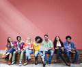 Students Sitting Learning Education Cheerful Social Media Royalty Free Stock Photo
