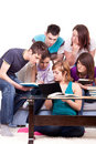 Students studying together  home Royalty Free Stock Photo