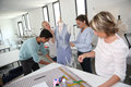 Students with teacher in dressmaking class group of training school Royalty Free Stock Photo