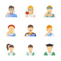 Students and teachers characters set vector collection of stylish student teacher other education in modern flat design style Royalty Free Stock Photo