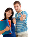 Students with thumbs-up Stock Photos