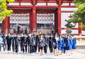 Students at todaiji temple nara japan apr student group on april in this is the house of the world s largest bronze statue of Royalty Free Stock Image