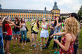 Students of university in bonn blow bubbles germany july front main building on july germany Royalty Free Stock Photo