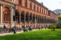 Students and university the ospedale maggiore is an old building founded in in the center of milan it was one of the first Royalty Free Stock Photos