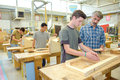 Students in woodwork class Royalty Free Stock Photo